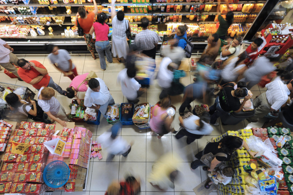 People come to a supermarket to buy food